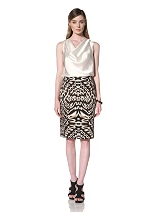 Calvin Klein Women's Printed Pencil Skirt (Black/Flax Multi)