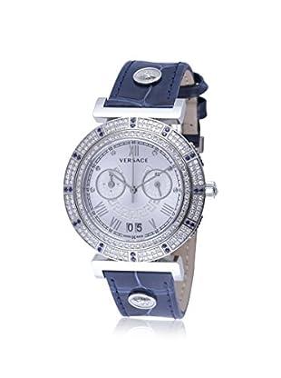 Versace Women's VA9090013 Vanity Chronograph Diamond & Sapphire Navy Alligator Leather Watch