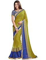 Ambica Lavnya Women's Chiffon And Marble Saree (Ambica Martina 3213_1, Mehndi , Green Colour)