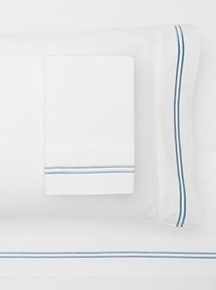 Mélange Home 2 Stripe Embroidered Sheet Set (Blue)