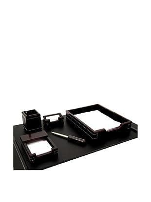 6-Piece Wood & Leather Desk Set, Cherry/Black
