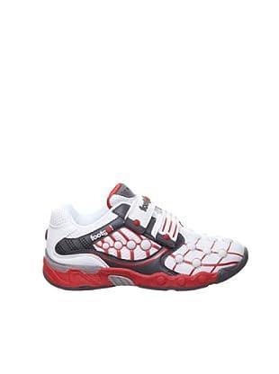 Footgol Sneakers Doppelklett (weiss/grau/rot)