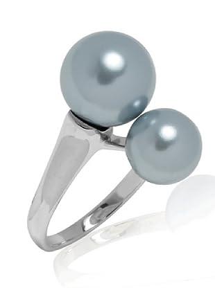 Perldor Ring 925 Sterlingsilber Muschelkernperlen graublau 60650163
