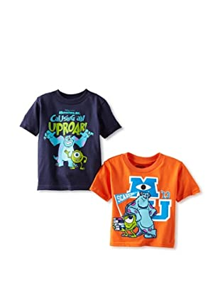Freeze Boy's Monsters Inc 2-Pack T-Shirt Bundle (Navy/Orange)