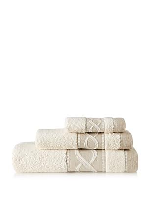 Belle Époque Linen Waves 3-Piece Towel Set, Linen/Ecru