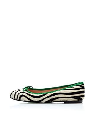 Fun&Basics Zapatos Bailarina Cebra (Cebra Negro/Verde)