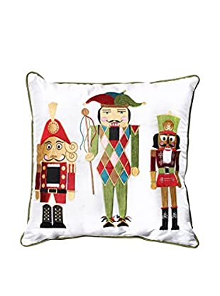 Pillow Perfect Holiday Embroidered Nutcrackers Throw Pillow, Green/Red