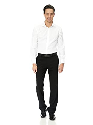 Vincenzo Boretti Baumwollhemd - Slim Fit, tailliert, bügelfrei (Weiß)