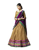 Kanheyas Women Net With Blouse Piece Lehenga Cholis (Kmtsd780 _Beige And Purple _Free Size)
