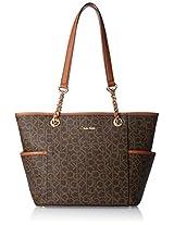 Calvin Klein Monogram Travel Tote, Brown/Khaki/Luggage Saffiano, One Size