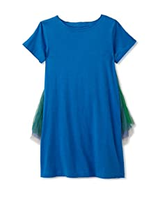 kicokids Girl's Tulle Over Jersey Butterfly Ruffle Dress (Surf)
