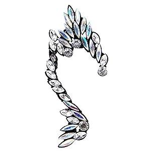 Ashiana Black and Silver Crystal Angel Wings Ear Cuff Earring