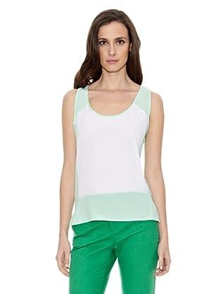 Cortefiel Camiseta Bcolor Sin Mang (Verde)