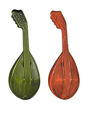 Uptown Down Previously Owned Set of 2 Cast Aluminum Mandolin Wall Sculptures
