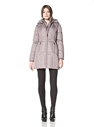 Vince Camuto Women's Down Coat with Knit Collar (Taupe)