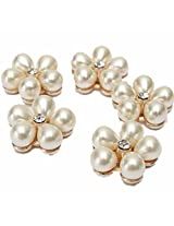 5pcs Clear Rhinestone Flower Ivory Cream Pearl Silver Tone Shank Buttons Perfect Artwork DIY Craft Sewing Tool.