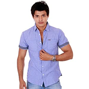 Ooz Blue And White Stripes Shirt For Men