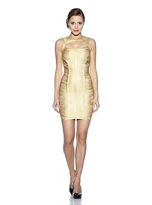 Corizzi & Absolu Vestido Abertura Escote Cóctel (Oro)