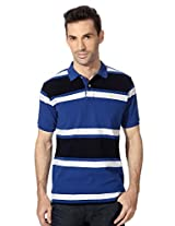 Allen Solly Blue Striped Polo Neck T Shirt