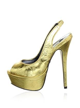 Buffalo London 21621-931 MIRROR ALUMINIO 129285 - Plataformas de cuero  mujer (Dorado)