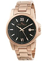 Lucien Piccard Men's 10048-RG-11 Breithorn Black Textured Dial Rose Gold Ion-Plated Stainless Steel Watch