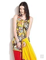 Abstract Floral Print Kurti-Yellow-Xl