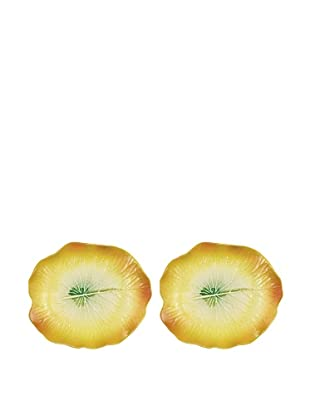 Mustardseed and Moonshine Set of 2 Waterlily Dinner Plates, Yellow/Green
