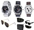 Pittsburgh Combo Of Men 3 Watches 2 Sunglasses Belt And Wallet