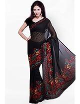 Ishin Printed Saree - Black