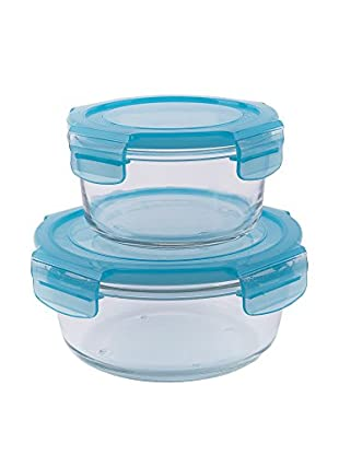 Brunch Time Frischhaltebox 2er Set Freshness Glass transparent/himmelblau