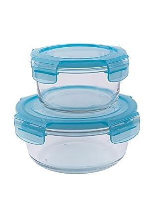 Molecuisine Frischhaltebox 2er Set Freshness Glass transparent/himmelblau
