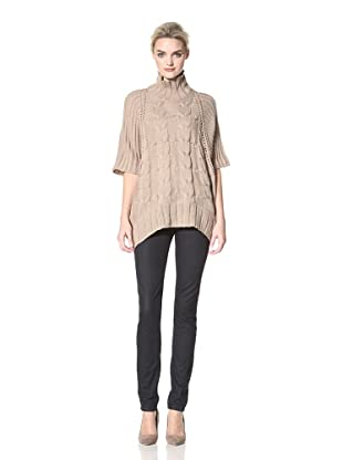 Dex Women's Mock Neck Cape Sweater (Beige)