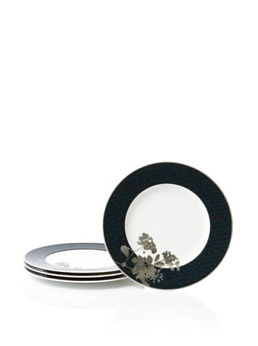 Noritake Set of 4 Everyday Elegance Verdena Coupe Salad/Luncheon Plates (Platinum)