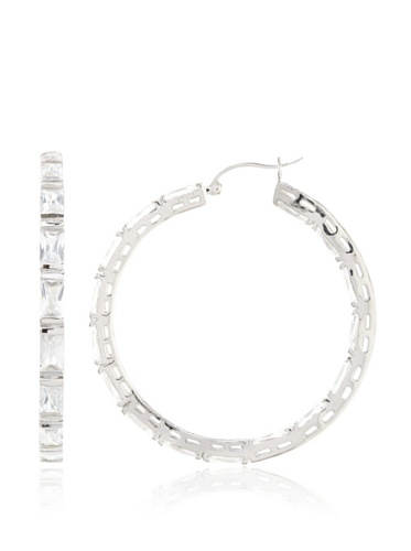 CZ by Kenneth Jay Lane Clear Empress Channel Set Hoop Earrings