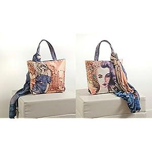Shopping World Faux Silk With Shiffon Stole Hand Bag - Darkbluegirl