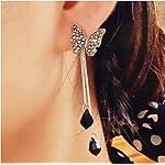 Beautiful Black Butterfly Tassels Long Chain Stud Dangle Earrings