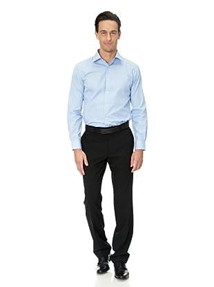 Vincenzo Boretti Baumwollhemd - Slim Fit, tailliert, gestreift, bügelfrei (Blau/Weiß)