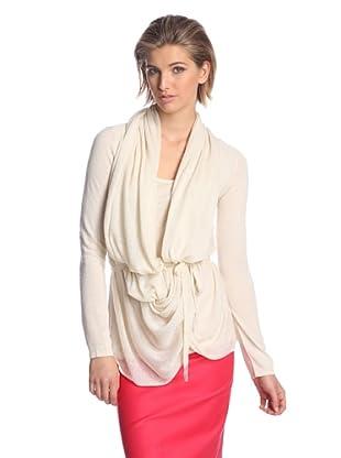 Josie Natori Women's Kiya Draped Sweater (French Vanilla)
