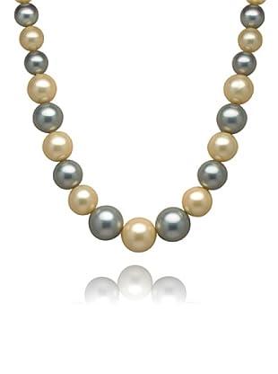 Perldor - 60401005 Collar de mujer Gris de ley con perla natural Azul/Marfil 45 cm