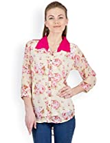 Ayaany Pink Color Printed Casual Shirt for women