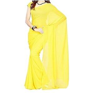 High5store Plain Faux Chiffon Saree - Yellow