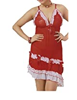 Hautewagon Womens Net Babydoll with Thong -Red -Free Size