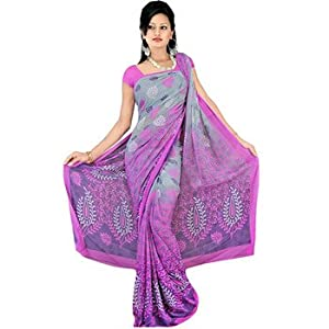 Chiffon sarees - Fabdeal Pink Chiffon Printed Saree