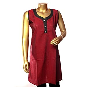 Swank South Cotton Self Design Kurti Maroon