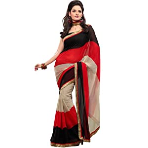 Fabdeal Women Indian Printed Saree Red and Black (FZ10192BNT)