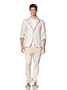 D by D Men's Blazer with Contrast Camo Piping (Ivory)