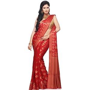 Utsav Fashion SWZ9 Red Georgette Saree