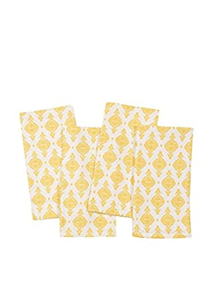 KAF Home Set of 4 India Print Napkins, Mimosa Yellow