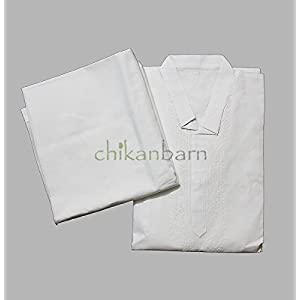 White Cotton Kurta Pyjama Set CBMK0001   Size S