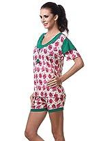 AF affair Women's Regular Fit 2 Piece Night Suit (TS-1, Pink Green, L)